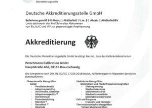 DAkkS-Akkreditierung Perschmann Calibration GmbH