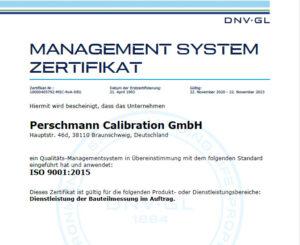 Perschmann Calibration Zertifikat