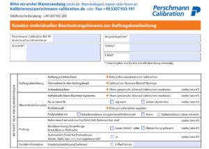 Perschmann Calibration Bearbeitungshinweis zur Auftragsbearbeitung