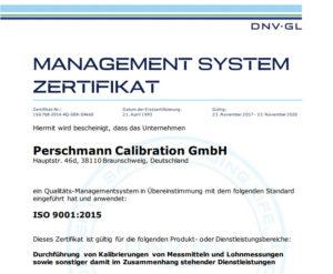 Zertifikat Perschmann Calibration